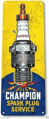 "TIN SIGN ""Champion Service"" Metal Spark Plugs Gas Oil Garage Shop Bar A849 #"