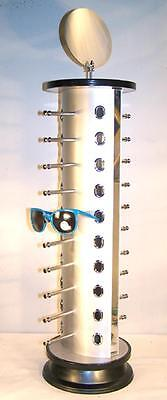 Tall 26 Inch Silver Spin Around 20 Pair Sunglass Display Rack Eyewaear Holder