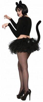 Tutu Rock mit Schwanz Kostüm-Zubehör Katze Schwarz Cat Röckchen Tüll - Schwarze Katze Tutu Kostüm