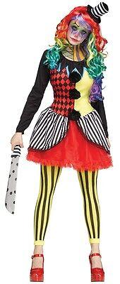 Freak Show Clown Adult Womens Costume, Horror Circus, Fun (Freak Show Kostüme)