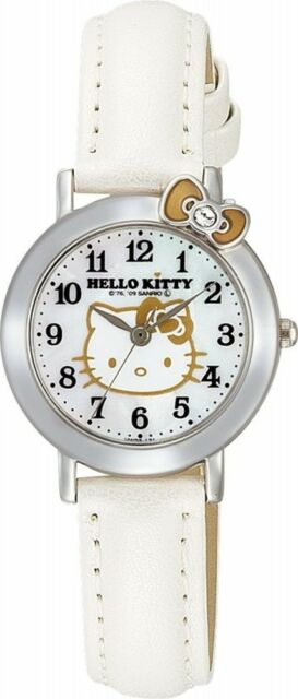 CITIZEN Q & Q Watch Hello Kitty Analog 2BAR White Ladies Sz VW23-131 From Japan