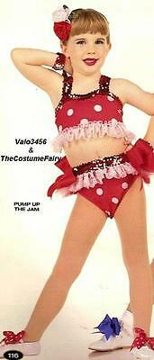 Pump Up The Jam Dance Costume Red White Polka Dot Bikini No Flower Child X-Large