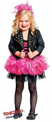 Italian Made Girls Deluxe Rock Star Leather Jacket Fancy Dress Costume Outfit (Rockstar Girl Outfit)