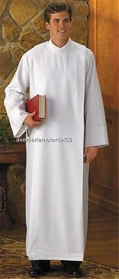 Alb White with Closure at Shoulder Polyester Catholic XS,S,M,L,X-LG