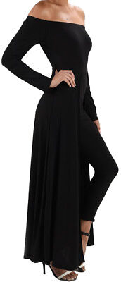 LL@ Funfash Plus Size Women Black Pants Legging Long Cape Dress Jumpsuit Jumper