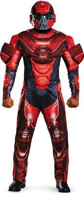 Halo Red Spartan Men's Adult Helmet Muscle Jumpsuit Halloween Costume, XL - Red Halo Costume