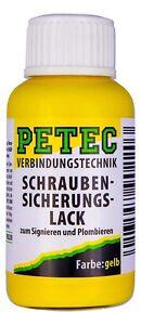 (€50,50/100ml)  PETEC Schraubensicherungslack gelb 20ml Pinselflasche   90120