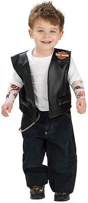 Lil' Biker Boy Harley-Davidson Black Vest Tattoo Halloween Baby Child Costume