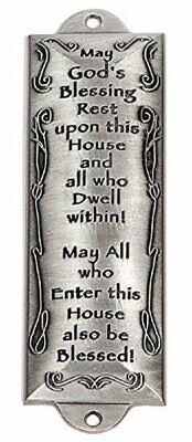 Bless This House Pewter Mezuzah Plaque