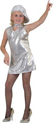 Disco Pailletten Kleid Silber Mädchen Show Party 80er Jahre Kostüm Gr. 116 %SALE