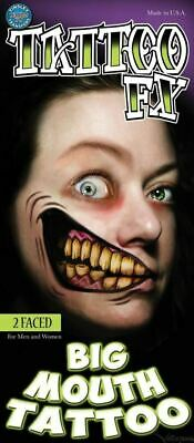 Scary Halloween Makeup Mouth (Tinsley Transfers Big Mouth Tattoos 2 Faced Halloween Horror Make Up)