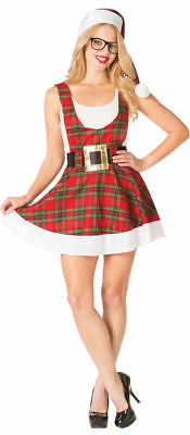 Sexy Hipster Ms. Claus Costume Women's Christmas Plaid Fancy Dress 4-10 - Ms Claus Costumes