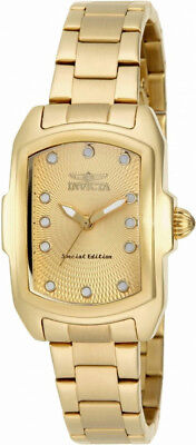$79.00 - Invicta Lupah 15849 Women's Gold Tone Guilloche Analog Tonneau Stainless Watch