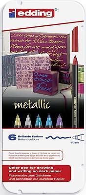EDDING 1200 Fasermaler metallic 6er-Etui Faserschreiber 4-1200-6 Stärke 0,5-1mm