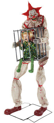 7 Ft ANIMATED CAGEY THE CLOWN WITH KID Halloween Prop HAUNTED HOUSE](Halloween Haunted Child)