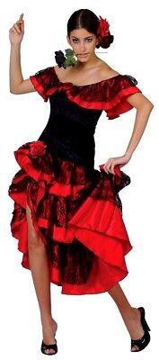 Adult SPANISH SENORITA Dancer Fancy Dress Ladies Flamenco Outfit UK Sizes 10-24 (Spanish Dancer Costume)