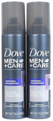 2 Dove Men Care 7oz Control Spray Full Look Strong Hold Natural Finish Unscented - Full Control Holding Spray