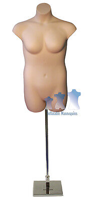 Female Plussize Fleshtone And Adjustable Mannequin Stand With 10 Square Base