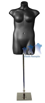 Female Plus Size Black And Tall Adjustable Mannequin Stand With 10 Square Base