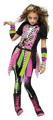 Halloween Kinder-Kostüm Neon Zombie für Mädchen Pink/Grün Horror Teenager ()