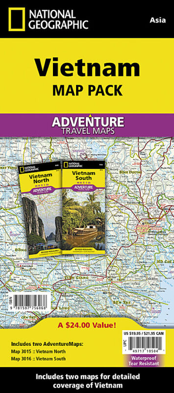 North & South Vietnam Adventure Travel Maps Pack National Geographic Waterproof