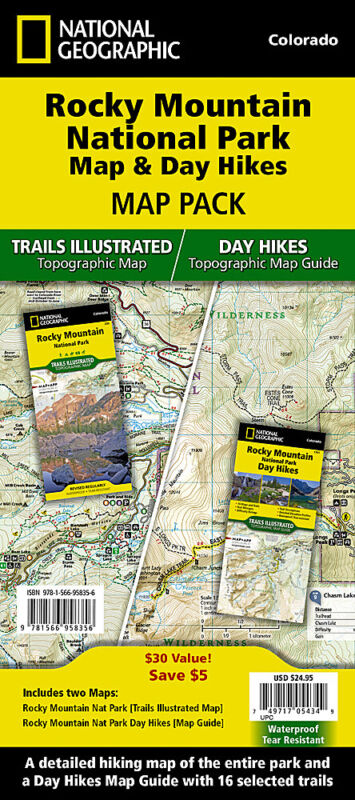 National Geographic Rocky Mountain Nat. Park Map & Day Hikes Topo Guide Pack