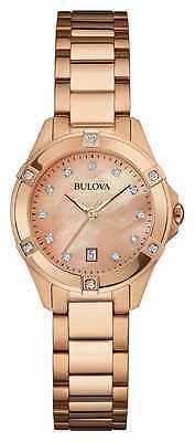 Bulova Women's 97W101 Quartz Diamond Markers Rose Gold Bracelet 27mm Watch