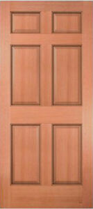 Exterior entry meranti mahogany 6 panel raised solid stain for Solid wood door construction