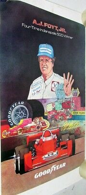 1970's AJ Foyt Indy 500 Champion Goodyear Tires Poster Original