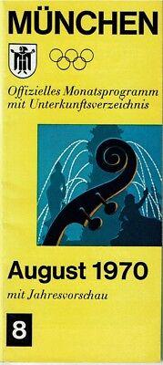 München/ Múnich Programa mensual oficial con directorio alojamiento agosto 1970 segunda mano  Huesca