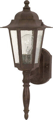 Old Bronze And Clear Seeded Glass Exterior Wall Light 12