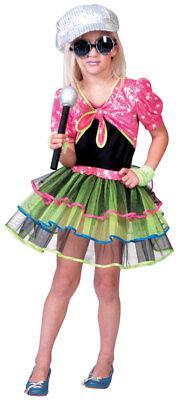 Schrilles 80er Kostüm für Mädchen NEU - Mädchen Karneval Fasching Verkleidung Ko