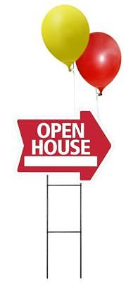 Large Open House Sign Kit With Balloons And Stands-arrow Shaped Corrugated Sign