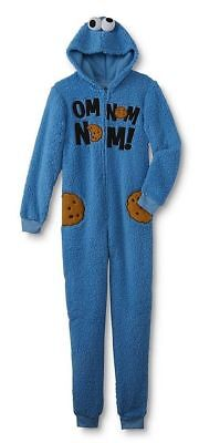 Cookie monster Pajamas womens XL hood one piece jumpsuit new fleece costume K3