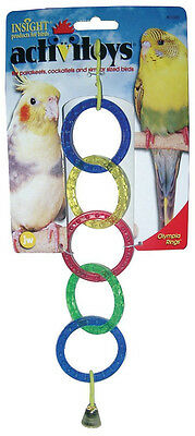 JW PET BIRD TOY OLYMPIA RINGS W/ BELL PARAKEET COCKATIEL CANARY.FREE SHIP TO USA