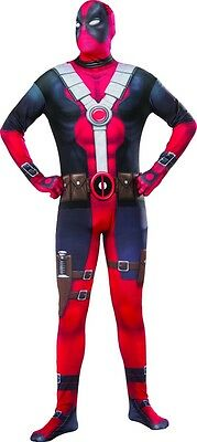 Deadpool Adult Mens Skin Suit, Black/Red, Rubies