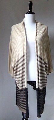 Women's Cover Up Knit Open Sweater Beige Black Long Cardigan Kimono One Size XL