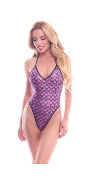 BodyZone Apparel Harlequin Hearts Print High Hip Bodysuit. O/S. Made in the USA. - Harlequin Bodysuit