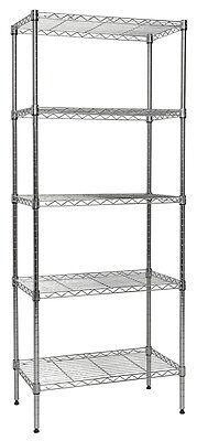 Apollo Hardware Chrome 5-shelf Nsf Wire Shelving Rack With Wheels 14x24x60