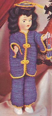 Vintage Crochet Pattern 8 Doll Clothes Mandarin Coat Pants Hat Miss China