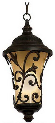 Antique Copper And Amber Etched Glass Fluorescent Exterior Hanging Light ()
