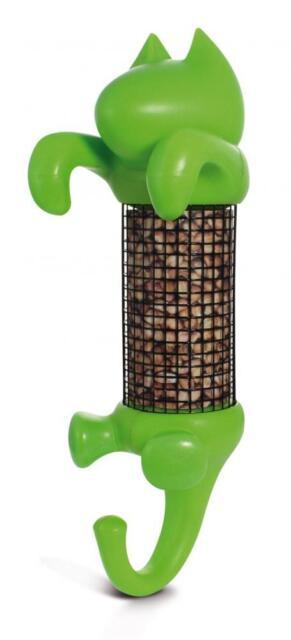 Slam Designs CBF1GRN Durable Plastic Cat Shaped Claude Bird Feeder Green - New