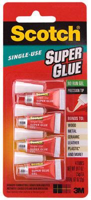 3M Scotch Super Glue 4 Single Use Tubes No Run Gel Precision Fine (3m Gel Glue)