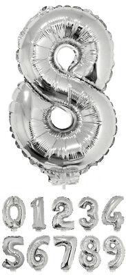 Zahlen Folienballon 41 cm mit Stab Silber Party Geburtstagsdekoration Luftballon ()