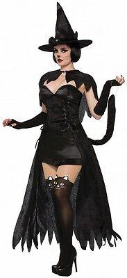 Wicked Kitten Damen Kostüm Katze Gr. S/M Sexy Hexe Cat Samt Damenkostüm ()