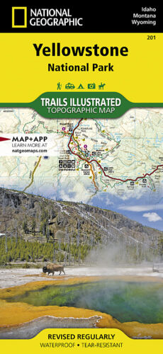 Yellowstone National Park National Geographic Topo Trail Map Waterproof