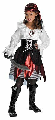 A MIGHTY PIRATE LASS BUCCANEER CHILD HALLOWEEN COSTUME GIRLS PLUS SIZE 10.5-12.5
