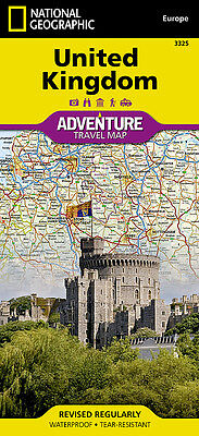UK Adventure Travel Map National Geographic Waterproof England Wales Scotland