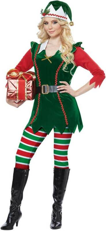 Festive Elf Tunic Top Dress Holiday Jolly Christmas Costume Adult Women 01493