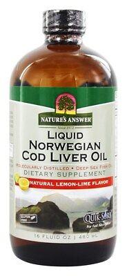 Natures Answer   Liquid Norwegian Cod Liver Oil Natural Lemon Lime   16 Oz